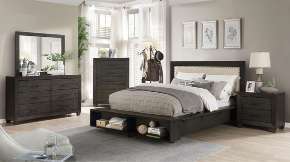Sligo - Queen Bed + 2NS + Dresser + Mirror - Dark Gray/Beige