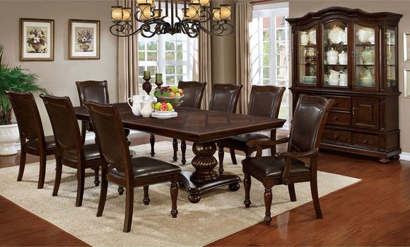 Alpena - 9 Pc. Dining Table Set (2ac+6sc) - Brown Cherry