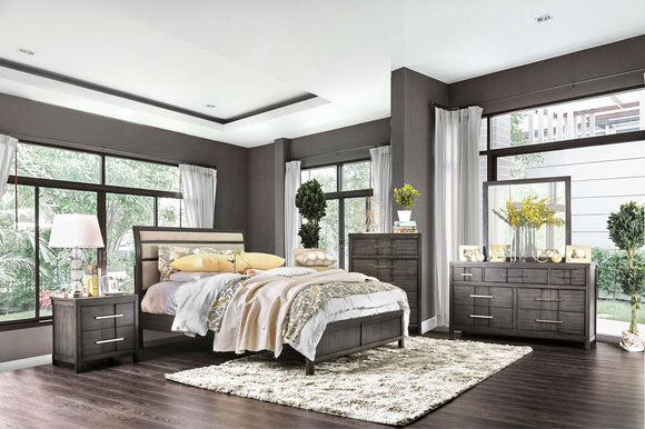 Berenice - 5 Pc. Queen Bedroom Set w/ 2NS - Gray/Beige