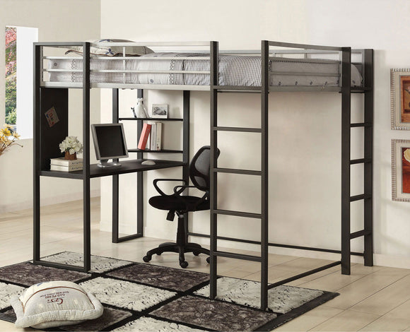Sherman - Full Bed w/ Workstation - Silver/Gun Metal