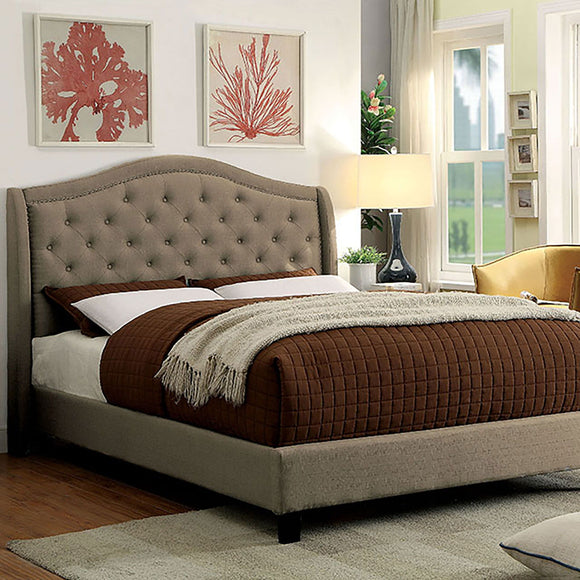 Carly - Cal.King Bed - Warm Gray