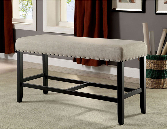 Sania II - Counter Ht. Bench - Antique Black/Beige
