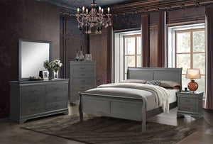 Louis Philippe III - Twin Bed - Gray