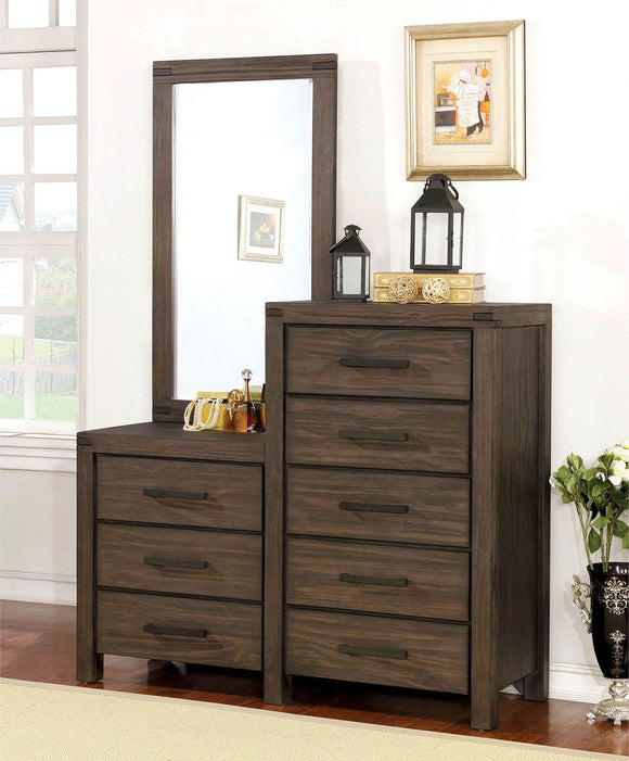 Rexburg - 8-drawer Dresser Mirror - Wire-Brushed Rustic Brown