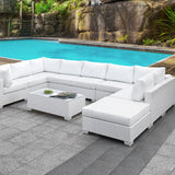 Somani - U-sectional + Coffee Table + End Table - Light Gray Wicker/Ivory Cushion