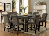 Sania III - 7 Pc. Counter Ht. Table Set - Antique Black, Ivory