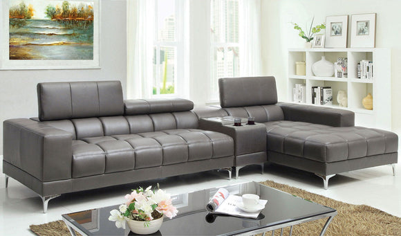 Bourdet II - Sectional + Speaker Console - Gray