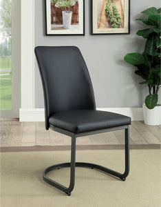 Saskia - Side Chair (2/ctn) - Dark Gray/Black