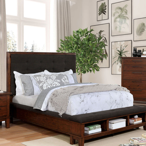 Knighton - Cal.King Bed - Brown Cherry/Dark Brown