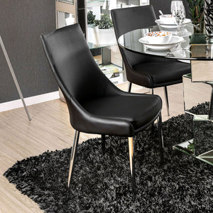 Izzy - Side Chair, Black (2/ctn) - Silver/Black
