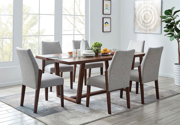 Brighid - 7 Pc. Dining Table Set - Dark Oak