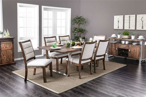 Mandy - 7 Pc. Dining Table Set - Oak/Chrome