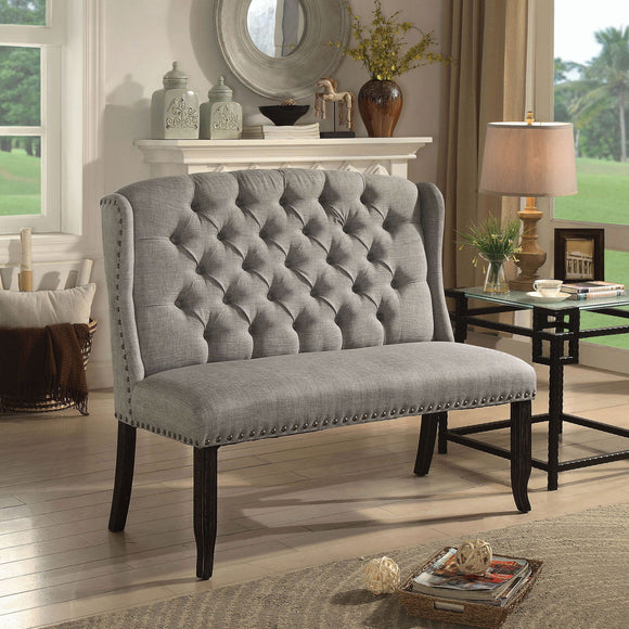 Sania III - 2-seater Love Seat Bench - Light Gray