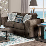 Pauline - Love Seat - Brown/Blue
