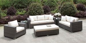 Somani - 3 Pc Set + Bench + 2 End Tables - Light Gray Wicker/Ivory Cushion