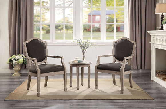 Emma - 3 Pc. Accent Table & Chair Set - Gray