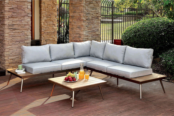 Evita - Patio Sectional w/ Corner Table - Light Gray/Oak/Brushed Champagne