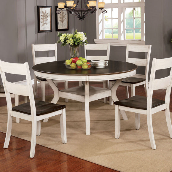 Juniper - 7 Pc. Dining Table Set - Antique White/Dark Oak