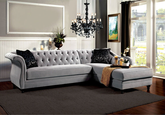 Rotterdam - Sectional - Warm Gray/Black/Silver
