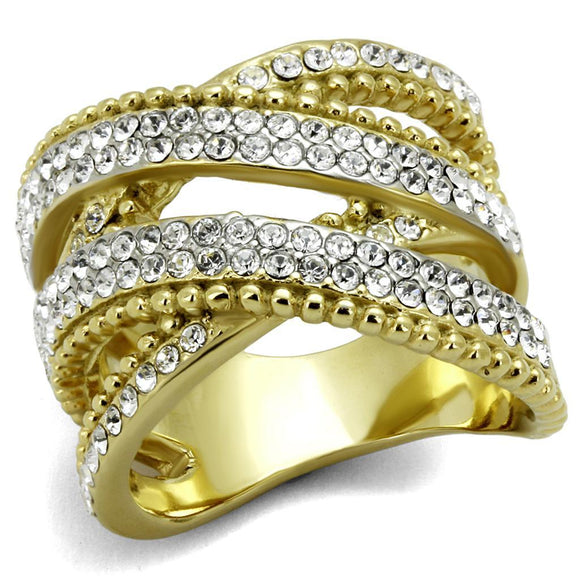 TK2252 - Two-Tone IP Gold (Ion Plating) Stainless Steel Ring with Top Grade Crystal  in Clear