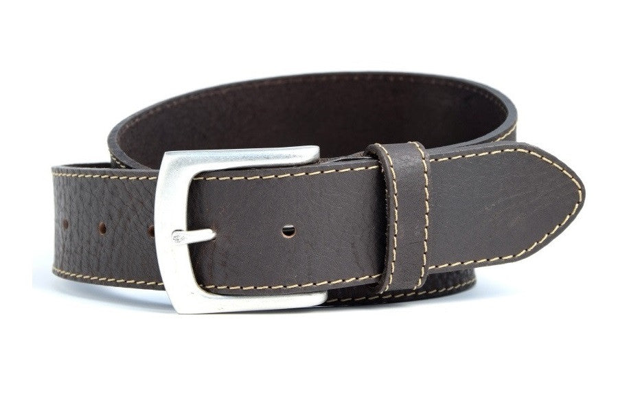 Solid buffalo leather belt with stitching