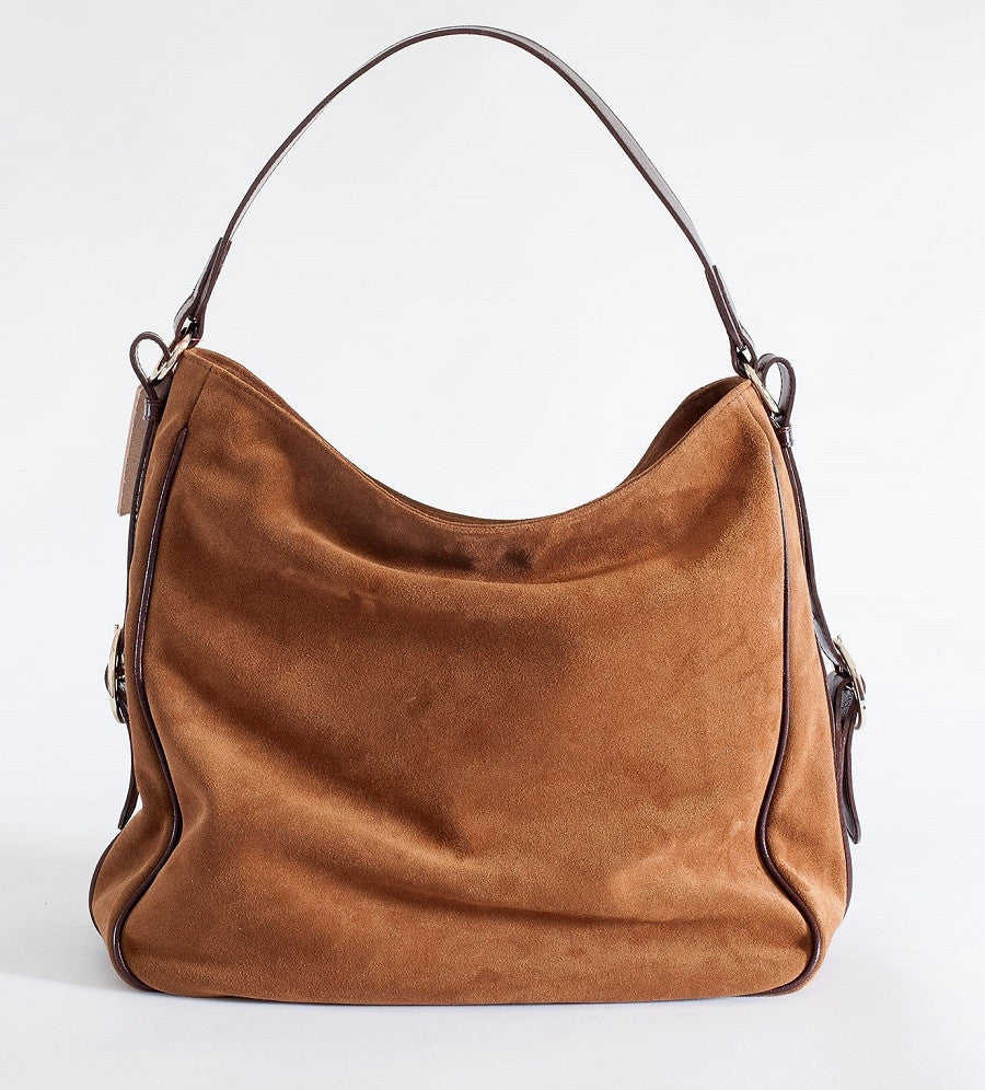 Suede Leather Bag Cognac