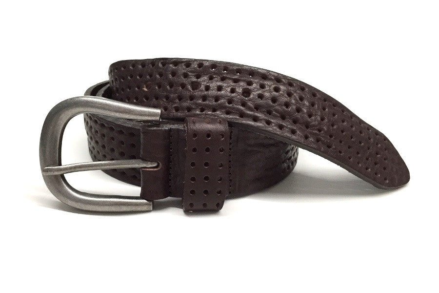 Dark brown perforated leather jeans belt