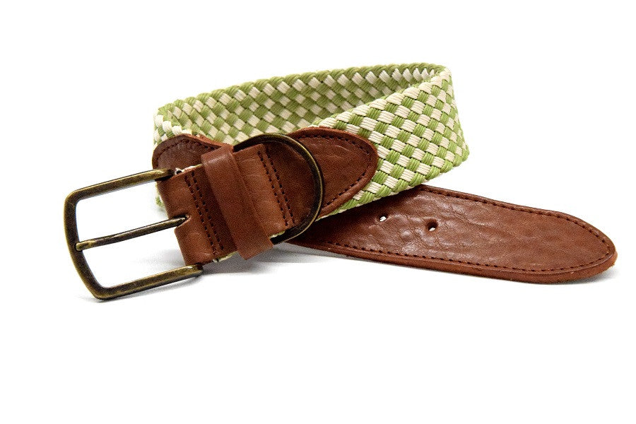 Waxed cotton dog collar green/white