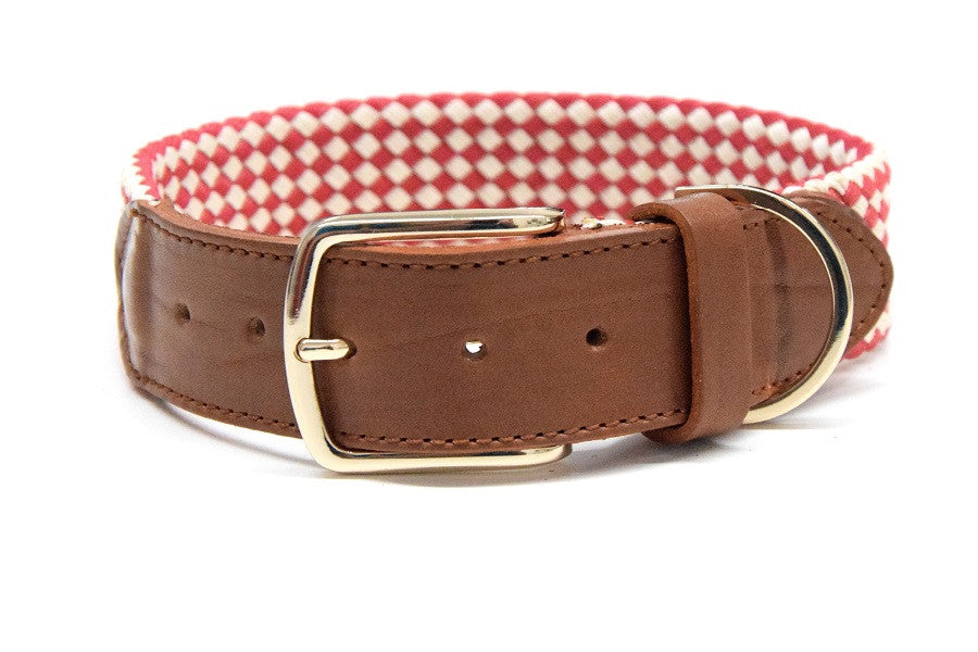 Waxed cotton collar apple red/white