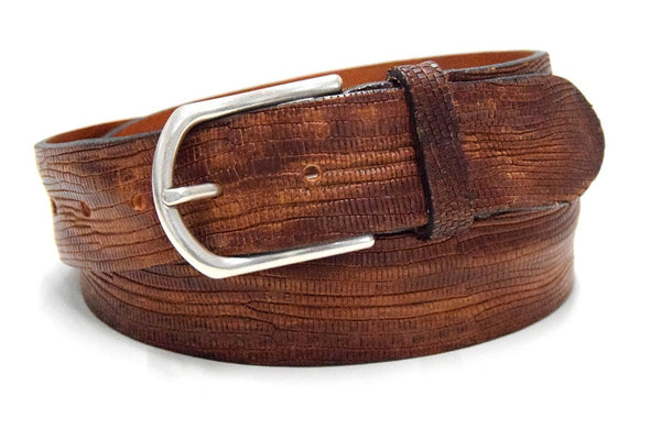Tan leather reptile belt