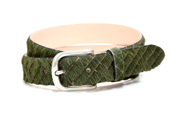 Cow hair belt cross cut olive