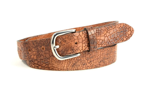 Vintage leather croc jeans belt