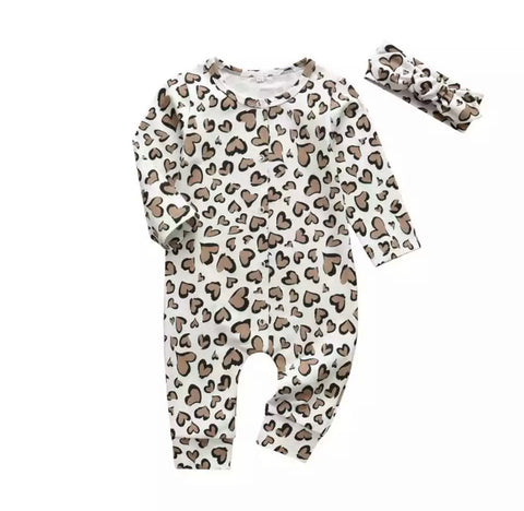 Leopard Hearts Romper Set