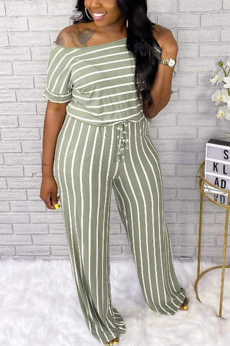 Fashion Casual Striped Printed Jumpsuit