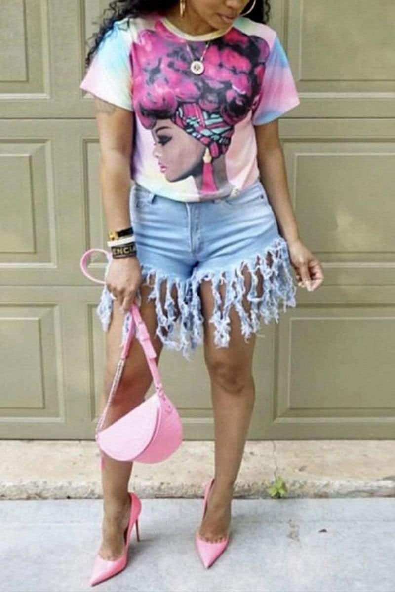 Stylish Casual Fringed Denim Shorts