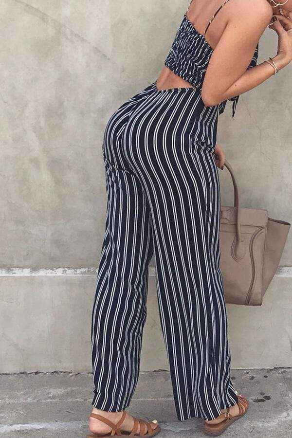 Fashion Striped  Bow Jumpsuit