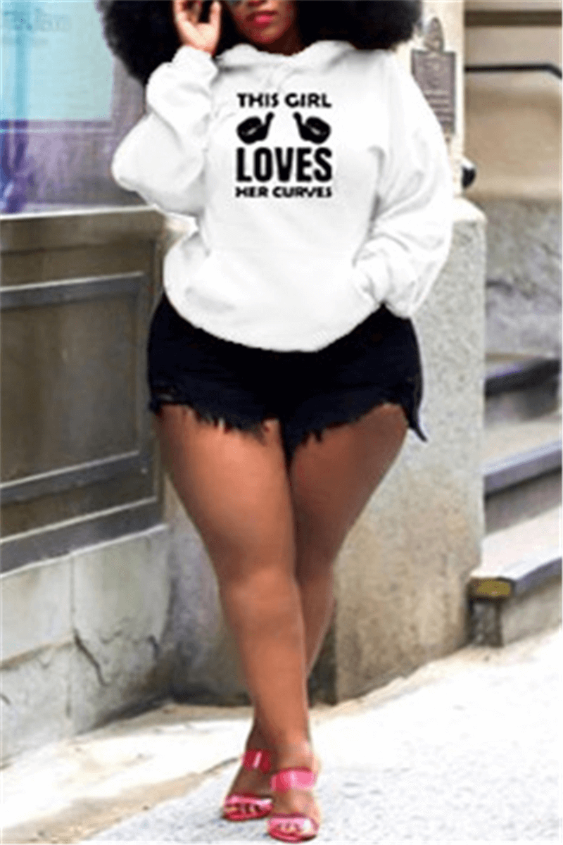 Fashion Casual Hoodie Letter Print Plus Size Tops
