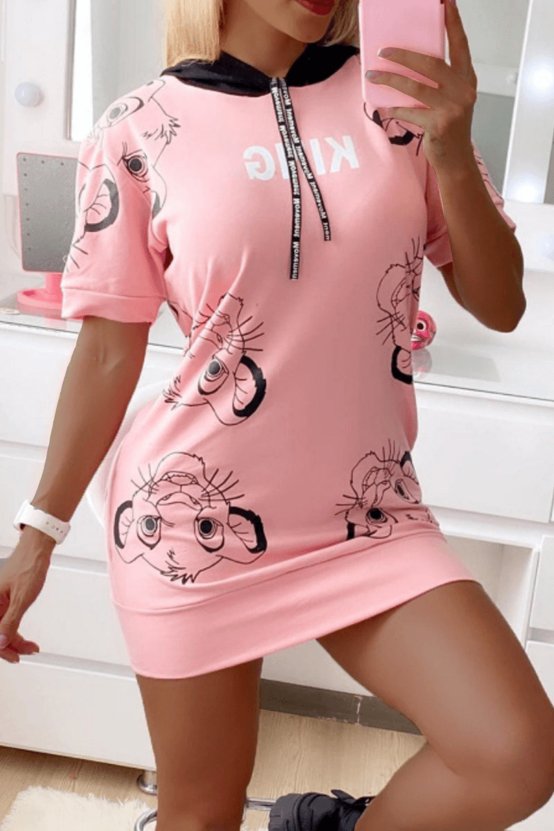 Fashion Casual Hoodie Collar Cartoon Print Mini Dress