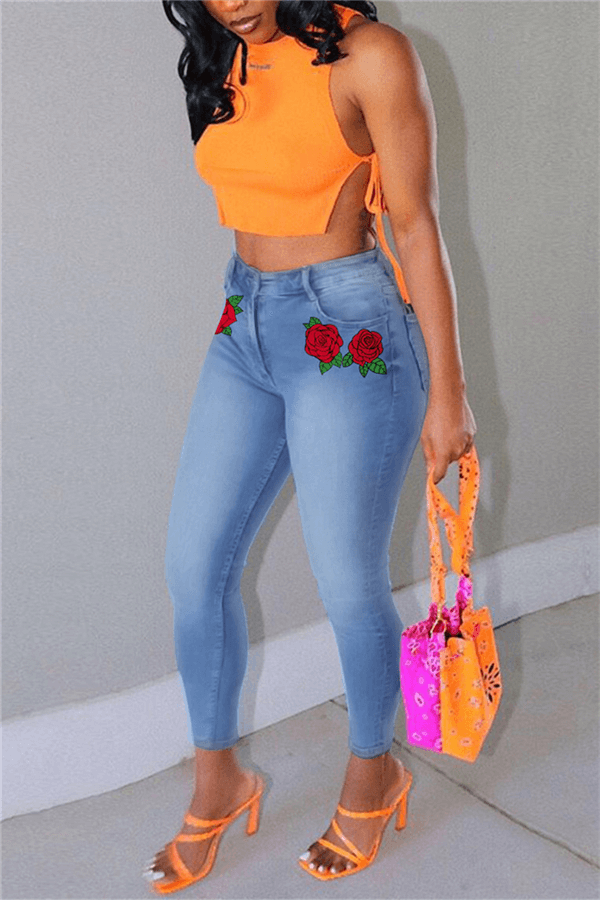 Fashion Casual Skinny Flower Print Jeans