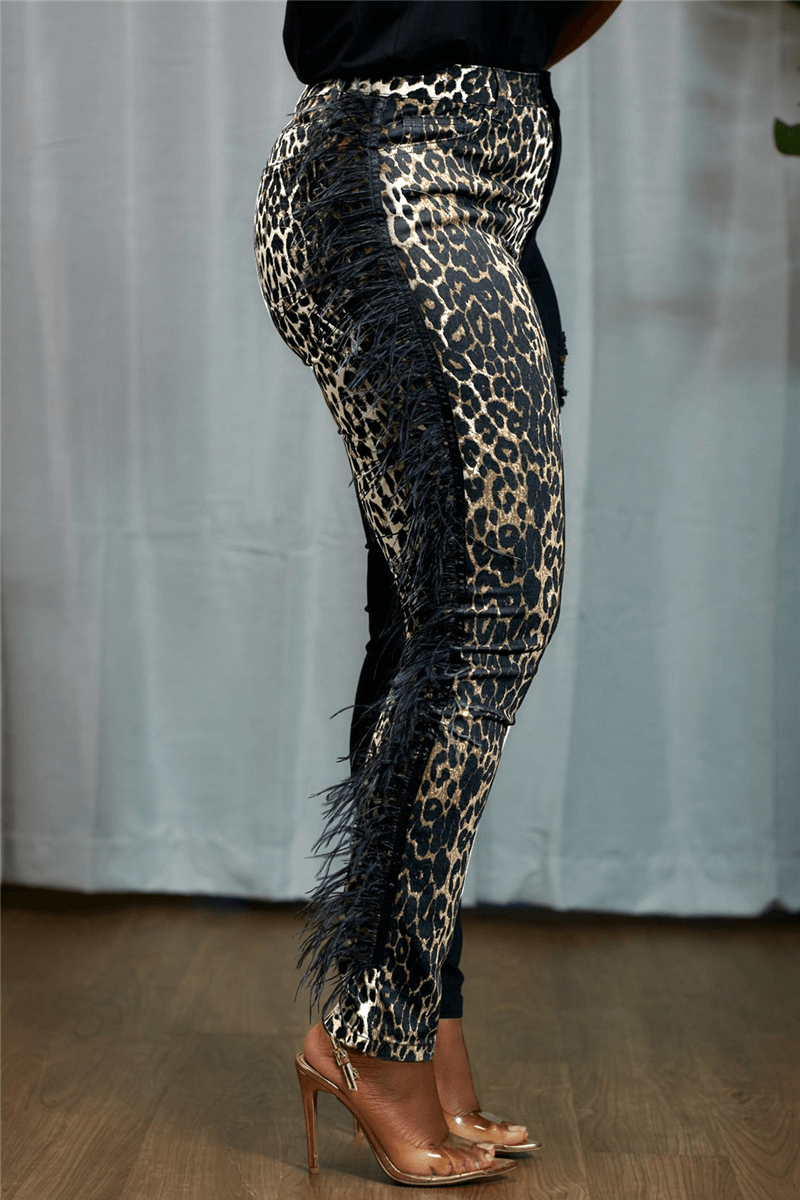 Fashion Casual Skinny Print Patchwork Trousers