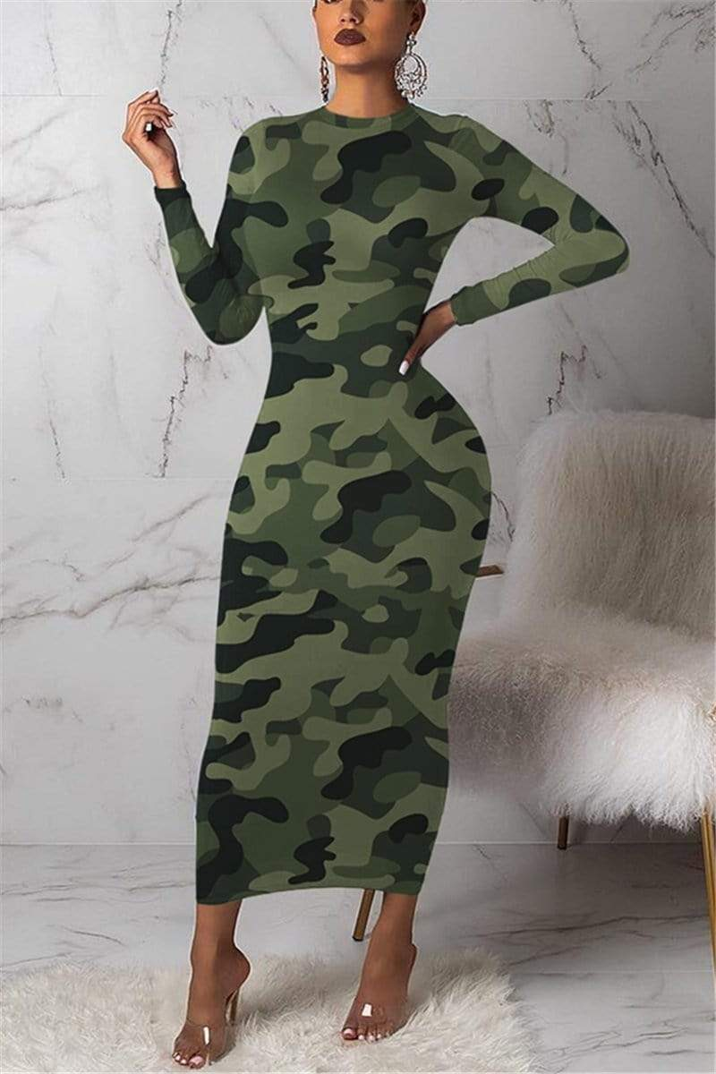 Fashion Sexy Long Sleeve Camouflage Dress