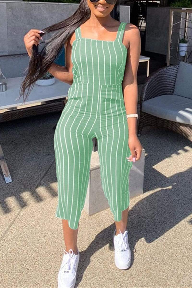 Casual Striped Printed Sling Jumpsuit