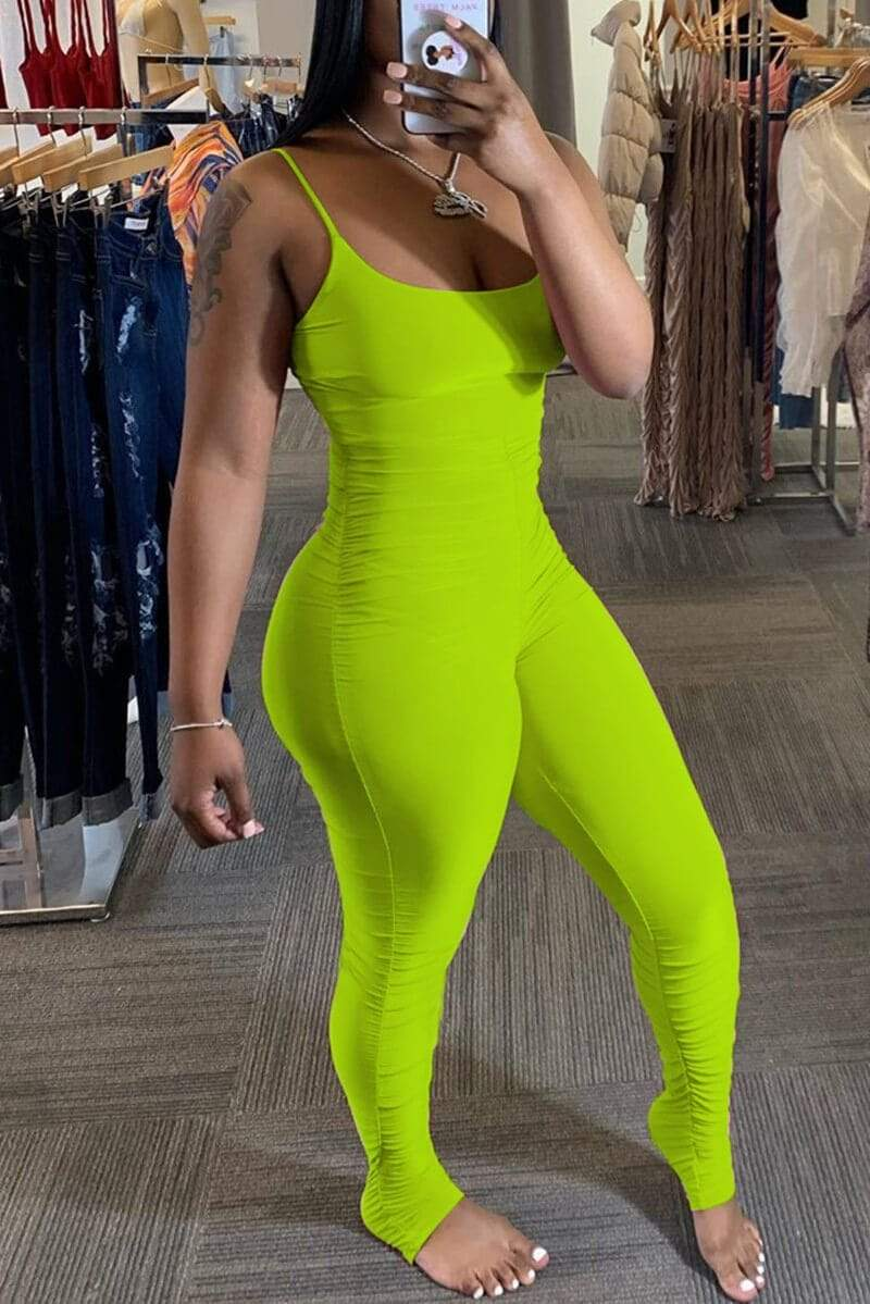 Sexy Solid Color Suspender Jumpsuit