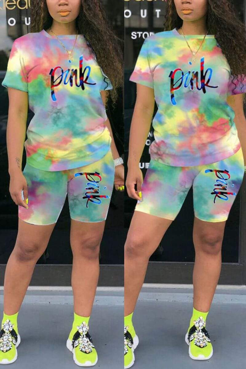 Fashion Tie-dye Letter Printed Casual Set