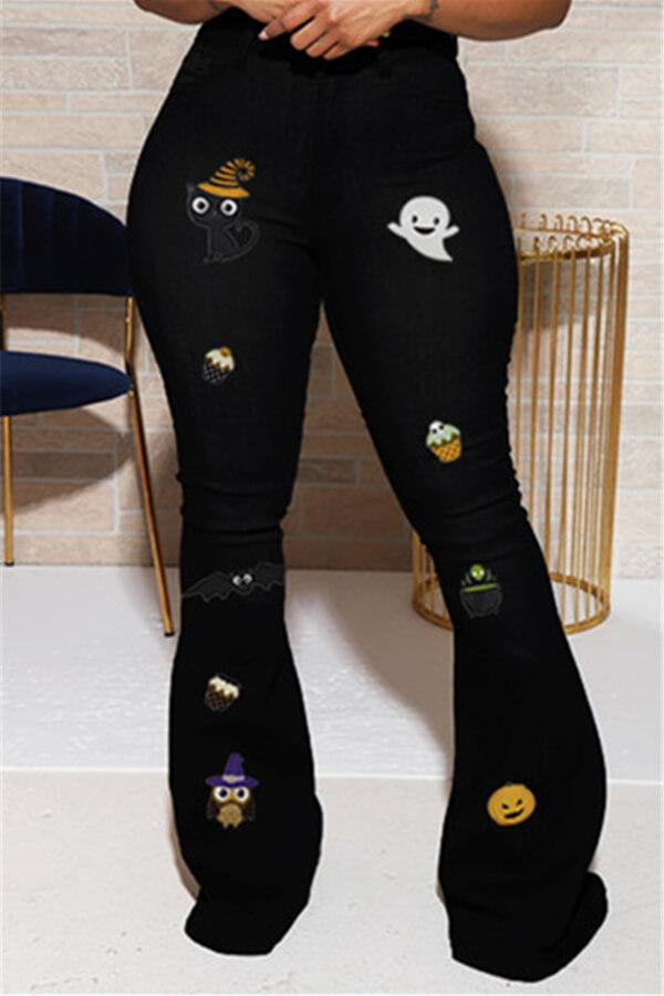 Fashion Casual Regular Halloween Print Patchwork Jeans