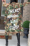 Fashion Casual  Letter Camouflage Print Coats