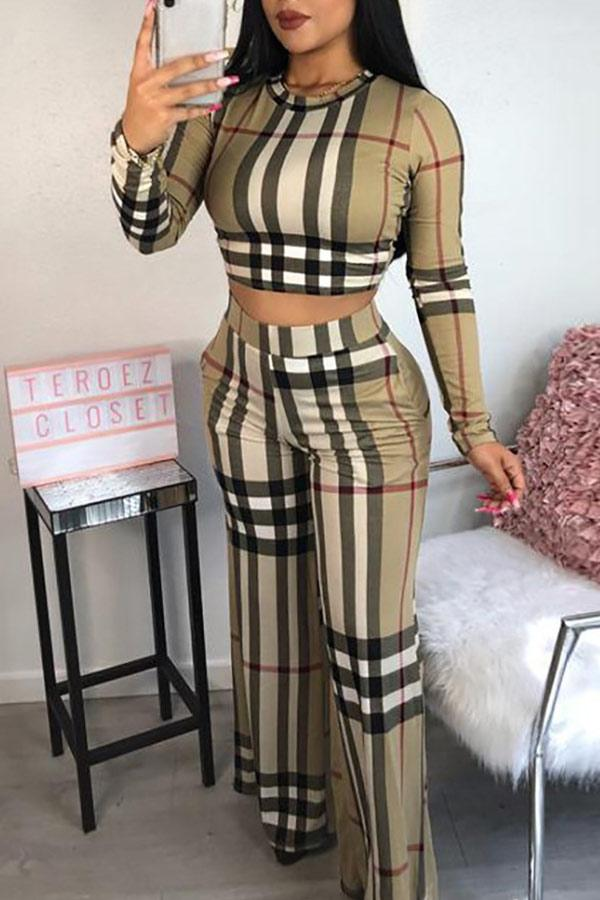 Fashion Grids Printed Multicolor Pants Set