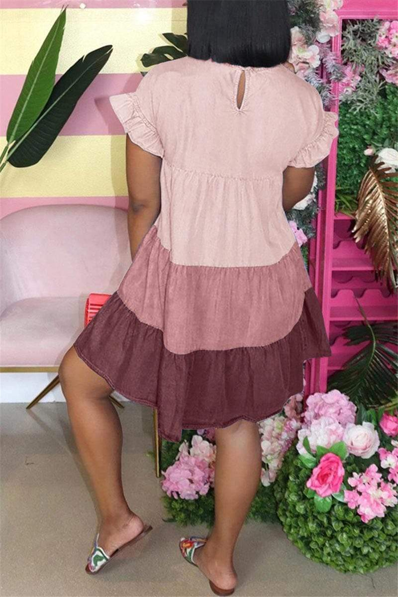 Casual Petal Sleeve Patchwork Dress
