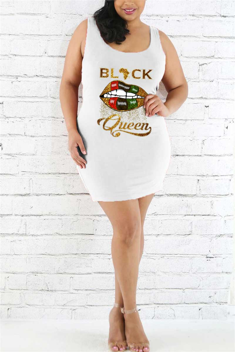 Fashion Sleeveless Printed Plus Size Dress