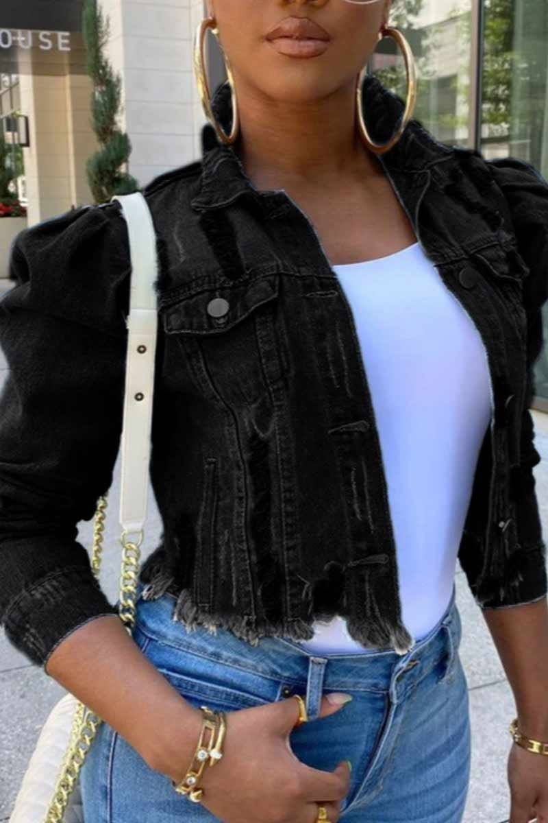 Fashion Bubble Sleeve Denim Coat